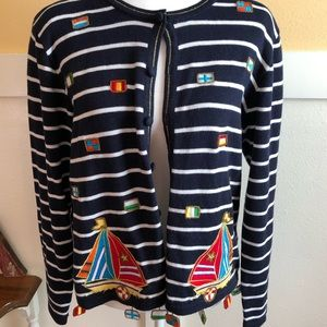 Berek 2 vintage knit sailboat sweater Sz L flags